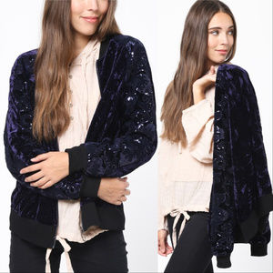 Jackets & Blazers - Velvet Bomber Jacket with Sequin Sleeves